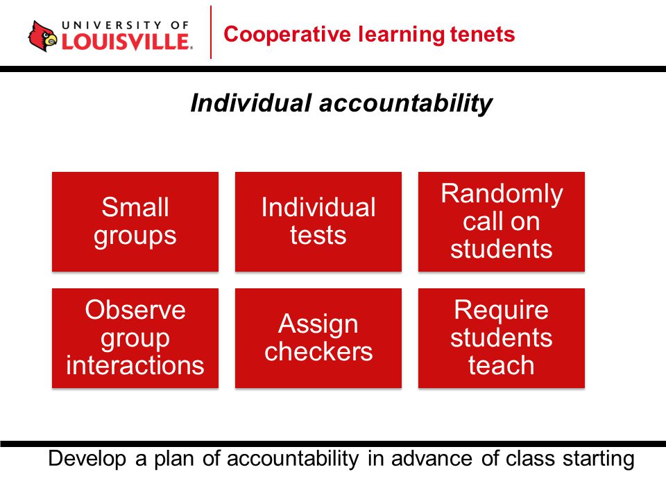 Cooperative learning tenets Individual accountability Small groups Individual tests Randomly call on students Observe group interactions Assign checke