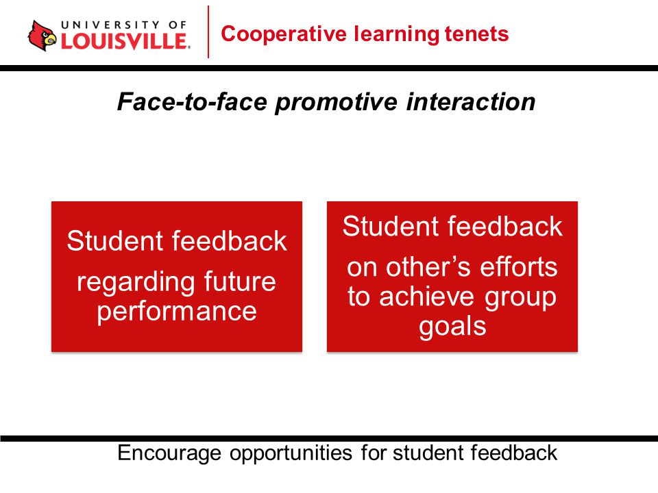 Cooperative learning tenets Face-to-face promotive interaction Student feedback regarding future performance Student feedback on other's efforts to ac