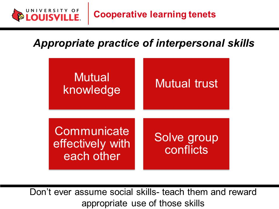Cooperative learning tenets Regular self-assessment of team functioning What is effective.