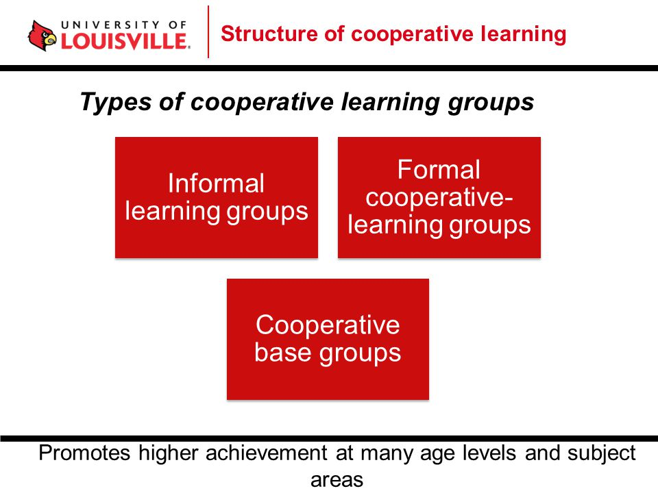 Structure of cooperative learning Types of cooperative learning groups Informal learning groups Formal cooperative- learning groups Cooperative base g