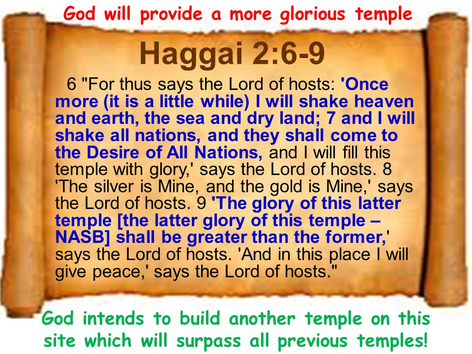 Haggai 2:10-14 10 On the twenty-fourth day of the ninth month, in the second year of Darius, the word of the Lord came by Haggai the prophet, saying, 11 Thus says the Lord of hosts: Now, ask the priests concerning the law, saying, 12 If one carries holy meat in the fold of his garment, and with the edge he touches bread or stew, wine or oil, or any food, will it become holy? Then the priests answered and said, No. (Lev 6) 13 And Haggai said, If one who is unclean because of a dead body touches any of these, will it be unclean? So the priests answered and said, It shall be unclean. 14 Then Haggai answered and said, So is this people, and so is this nation before Me, says the Lord, and so is every work of their hands; and what they offer there is unclean.