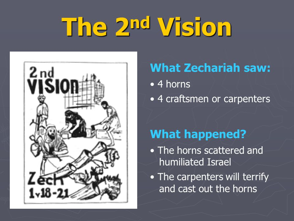 The 2 nd Vision What Zechariah saw: 4 horns 4 craftsmen or carpenters What happened.