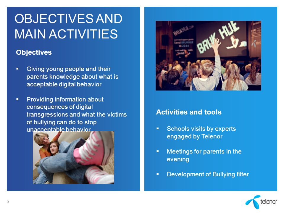 OBJECTIVES AND MAIN ACTIVITIES 5 Objectives  Giving young people and their parents knowledge about what is acceptable digital behavior  Providing in