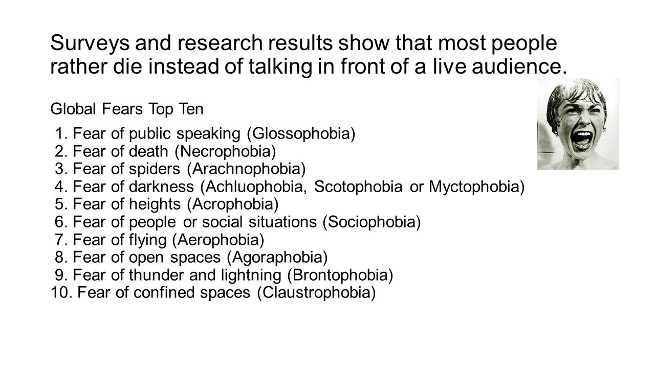 Surveys and research results show that most people rather die instead of talking in front of a live audience. Global Fears Top Ten 1. Fear of public s