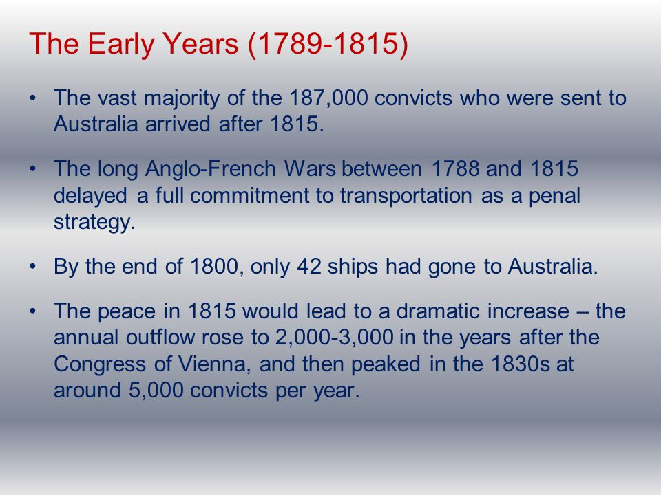 The Early Years (1789-1815) The vast majority of the 187,000 convicts who were sent to Australia arrived after 1815. The long Anglo-French Wars betwee