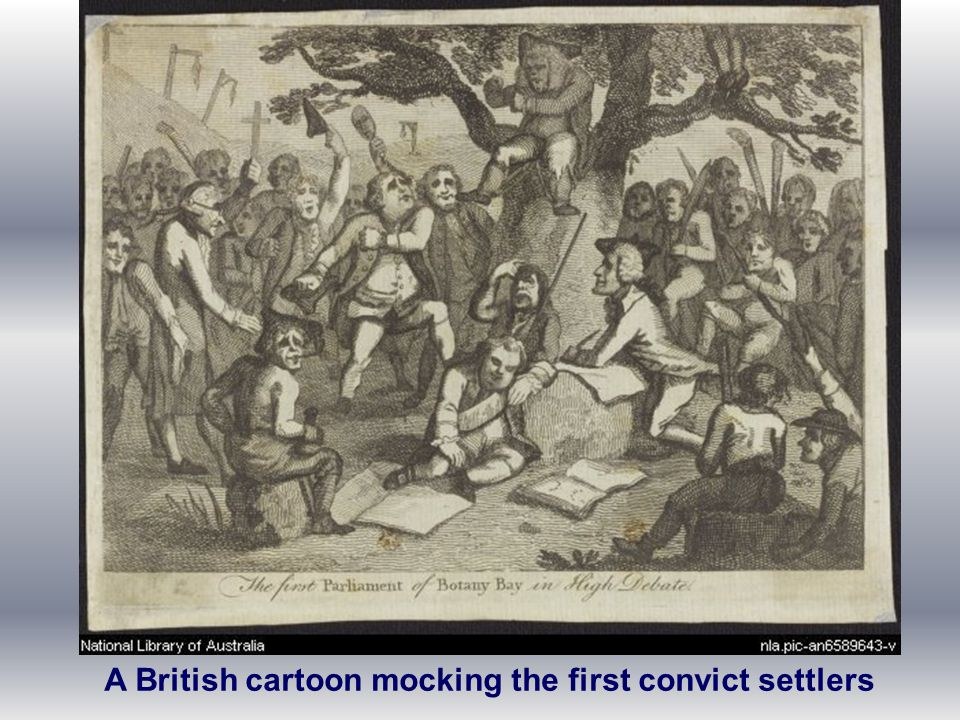 A British cartoon mocking the first convict settlers