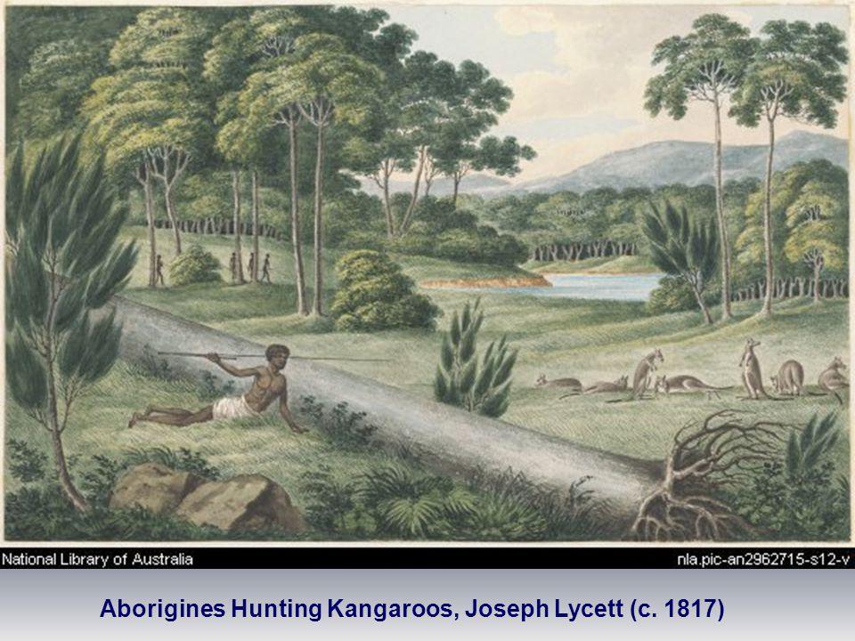 Aborigines Hunting Kangaroos, Joseph Lycett (c. 1817)