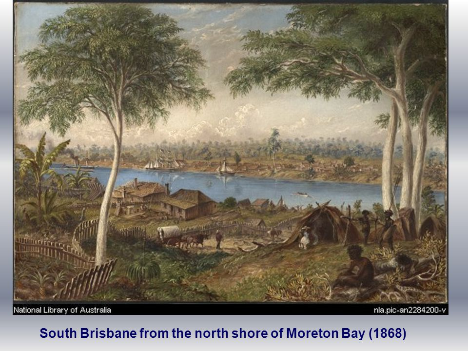 South Brisbane from the north shore of Moreton Bay (1868)