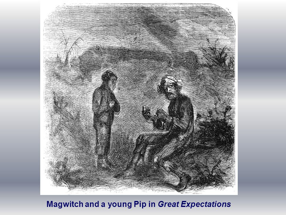 Magwitch and a young Pip in Great Expectations