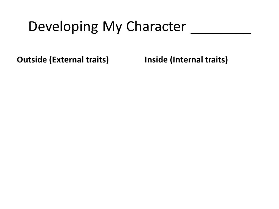 Developing My Character ________ Outside (External traits)Inside (Internal traits)