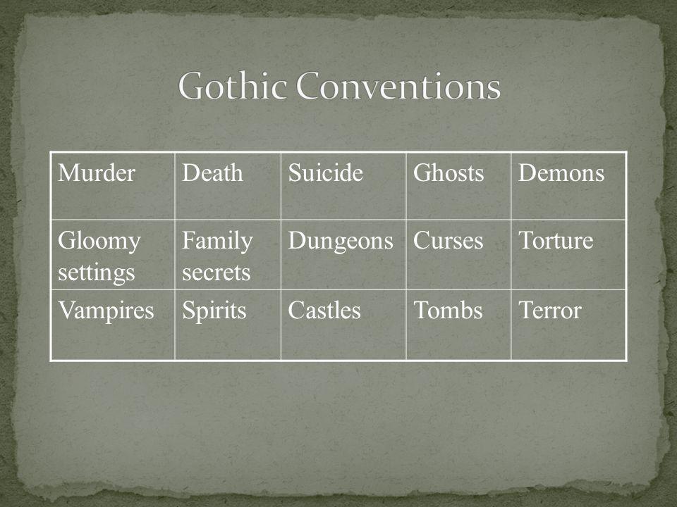 MurderDeathSuicideGhostsDemons Gloomy settings Family secrets DungeonsCursesTorture VampiresSpiritsCastlesTombsTerror