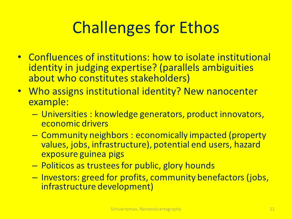 Challenges for Ethos Confluences of institutions: how to isolate institutional identity in judging expertise.