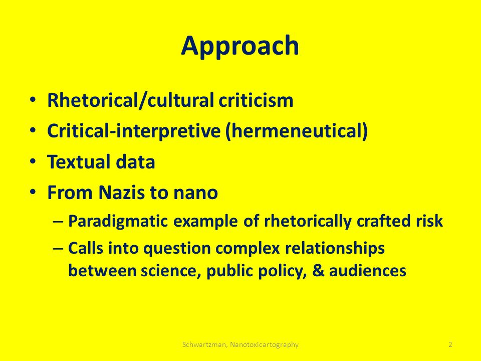 Approach Rhetorical/cultural criticism Critical-interpretive (hermeneutical) Textual data From Nazis to nano – Paradigmatic example of rhetorically cr
