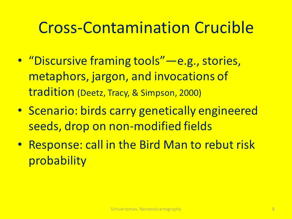 Cross-Contamination Crucible Discursive framing tools —e.g., stories, metaphors, jargon, and invocations of tradition (Deetz, Tracy, & Simpson, 2000) Scenario: birds carry genetically engineered seeds, drop on non-modified fields Response: call in the Bird Man to rebut risk probability 8Schwartzman, Nanotoxicartography