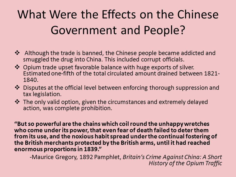 What Were the Effects on the Chinese Government and People.