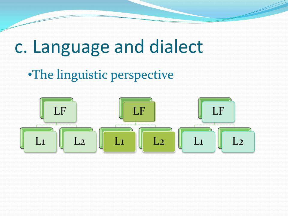 c. Language and dialect LFL1L2LFL1L2LFL1L2 The linguistic perspective