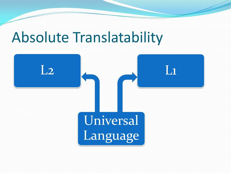 Absolute Translatability L1L2 Universal Language