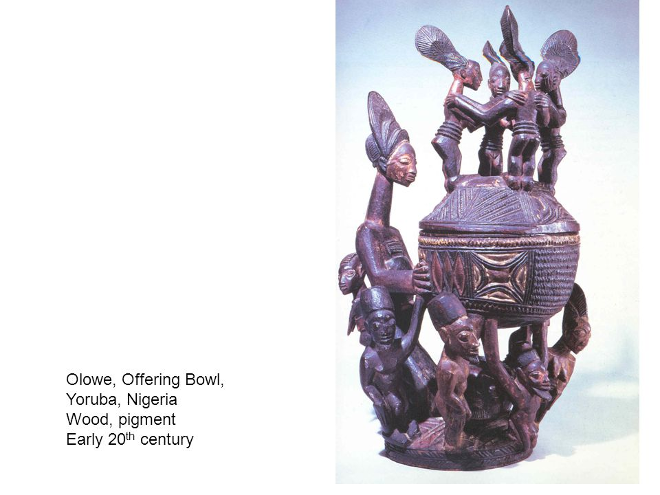 Olowe, Offering Bowl, Yoruba, Nigeria Wood, pigment Early 20 th century