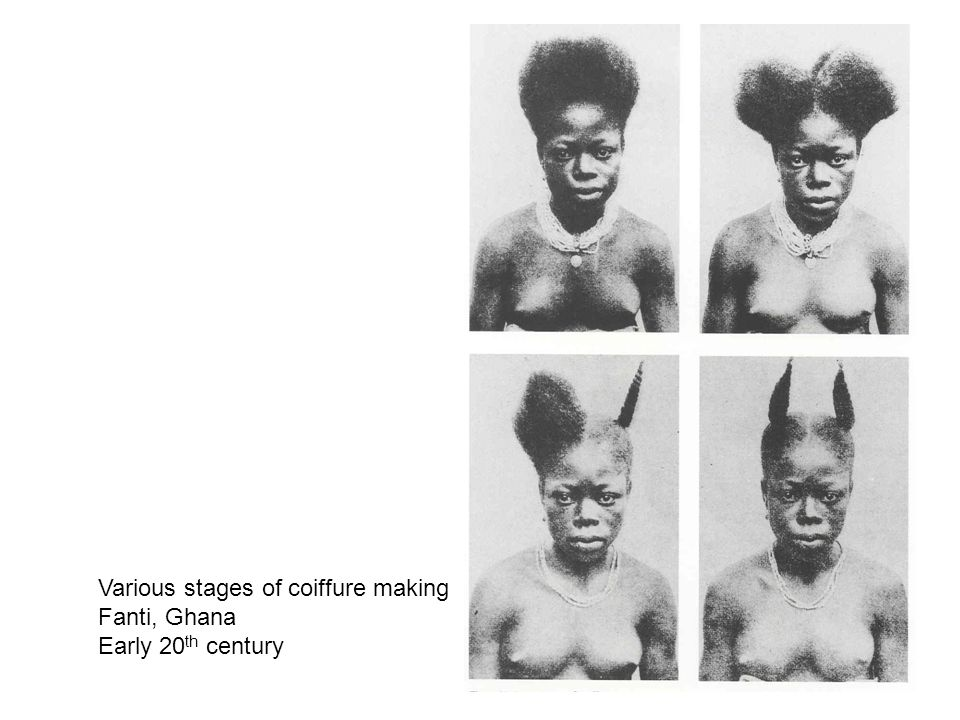 Various stages of coiffure making Fanti, Ghana Early 20 th century
