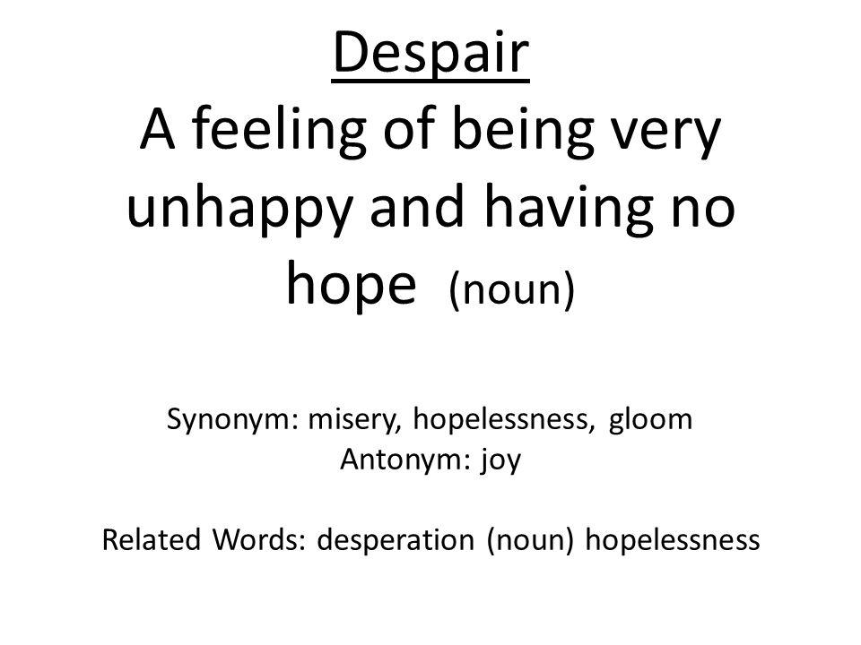 Despair A feeling of being very unhappy and having no hope (noun) Synonym: misery, hopelessness, gloom Antonym: joy Related Words: desperation (noun) hopelessness