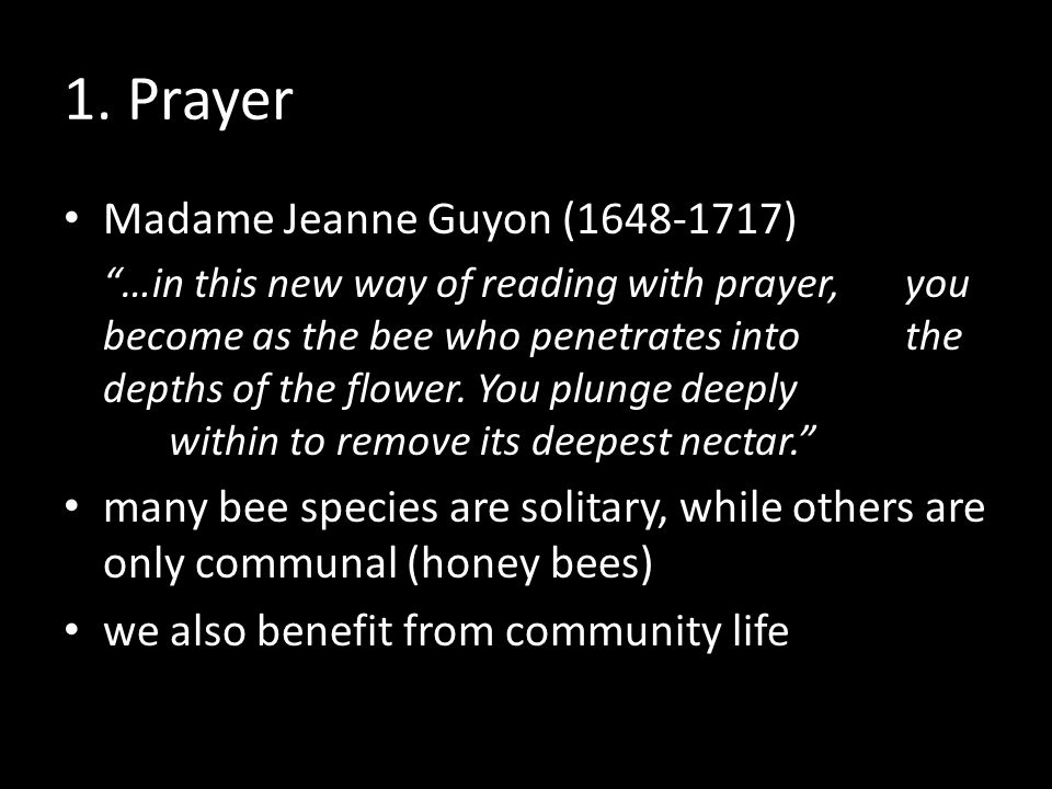 "1. Prayer Madame Jeanne Guyon (1648-1717) ""…in this new way of reading with prayer, you become as the bee who penetrates into the depths of the flower"