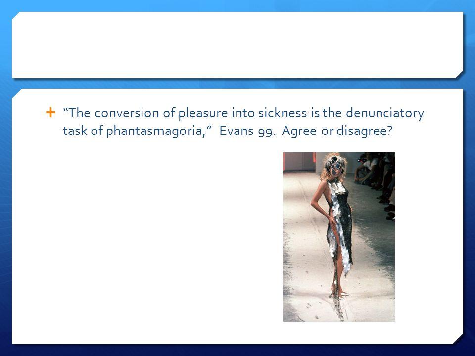 " ""The conversion of pleasure into sickness is the denunciatory task of phantasmagoria,"" Evans 99. Agree or disagree?"