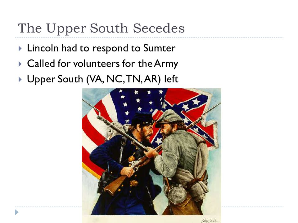 The Upper South Secedes  Lincoln had to respond to Sumter  Called for volunteers for the Army  Upper South (VA, NC, TN, AR) left
