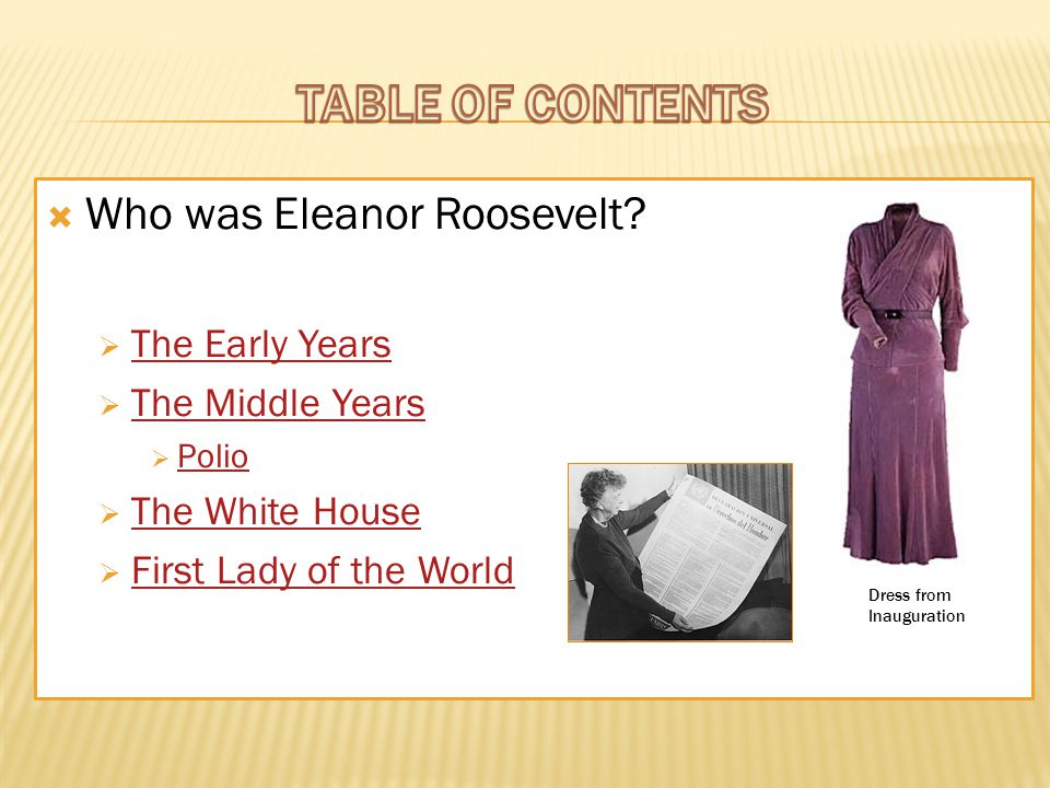  Who was Eleanor Roosevelt.