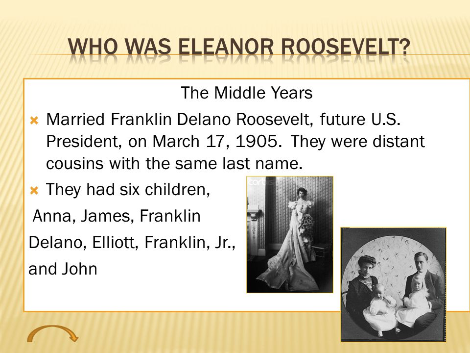 The Middle Years  Married Franklin Delano Roosevelt, future U.S.