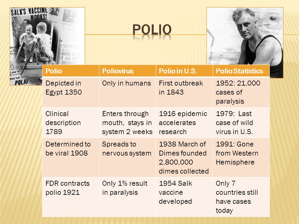PolioPoliovirusPolio in U.S.Polio Statistics Depicted in Egypt 1350 Only in humansFirst outbreak in 1843 1952: 21,000 cases of paralysis Clinical description 1789 Enters through mouth, stays in system 2 weeks 1916 epidemic accelerates research 1979: Last case of wild virus in U.S.