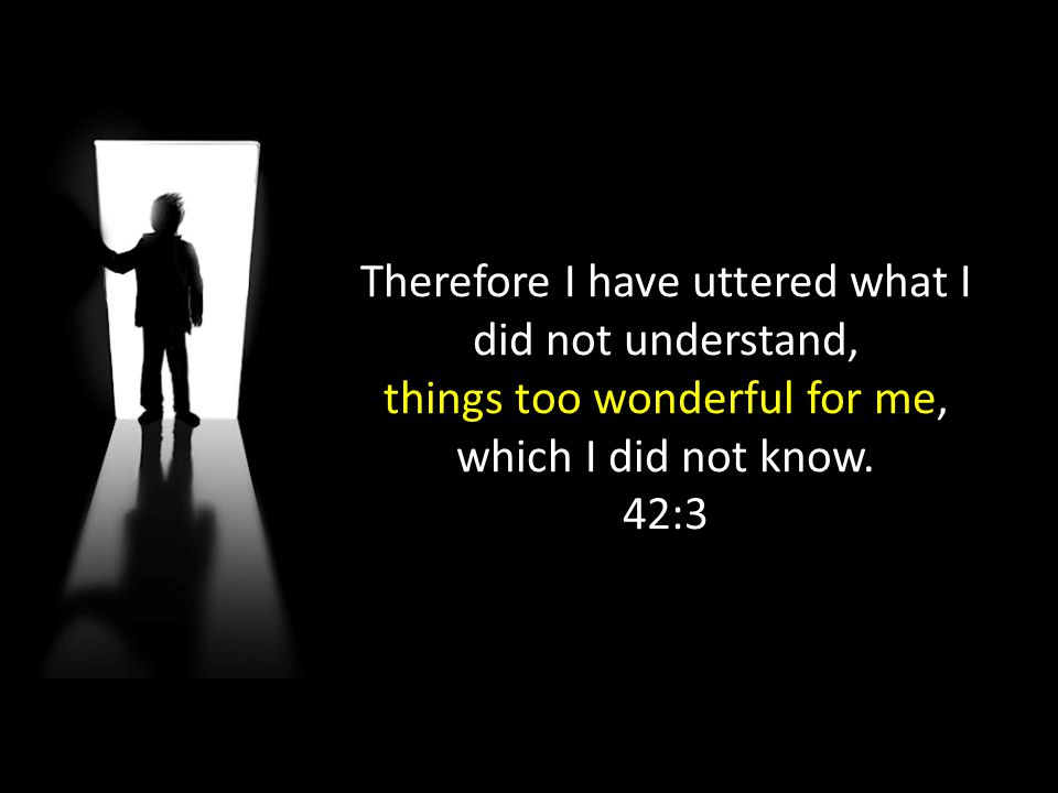 Therefore I have uttered what I did not understand, things too wonderful for me, which I did not know. 42:3