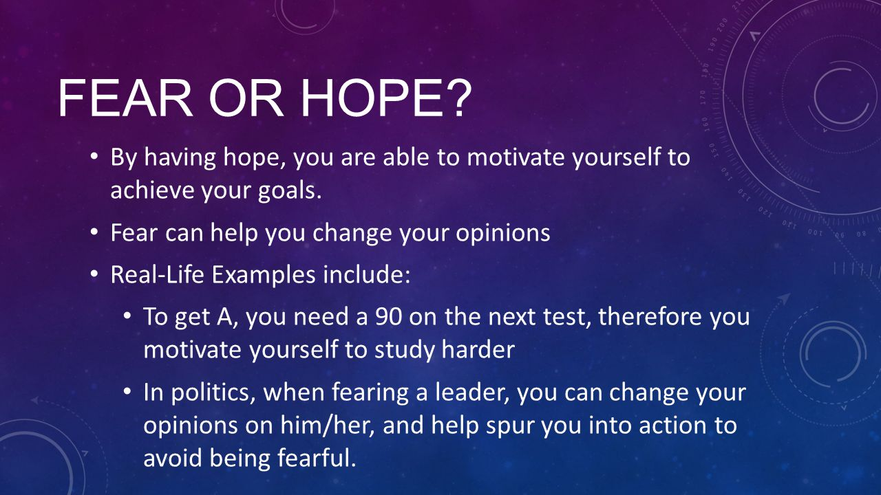 FEAR OR HOPE. By having hope, you are able to motivate yourself to achieve your goals.