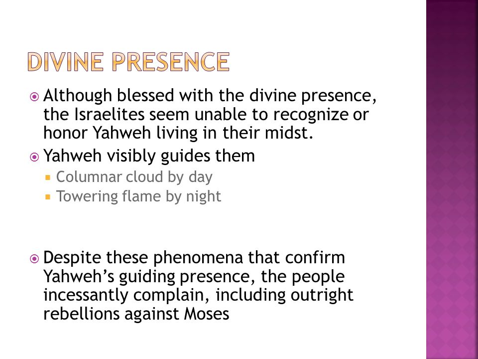  Although blessed with the divine presence, the Israelites seem unable to recognize or honor Yahweh living in their midst.
