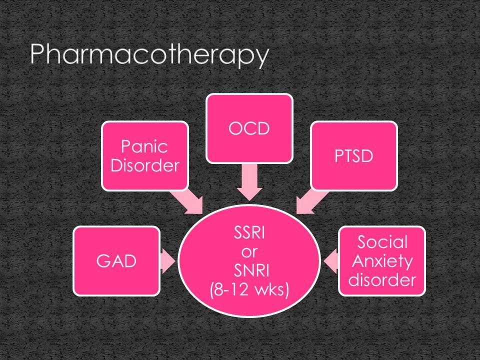 SSRI or SNRI (8-12 wks) GAD Panic Disorder OCDPTSD Social Anxiety disorder