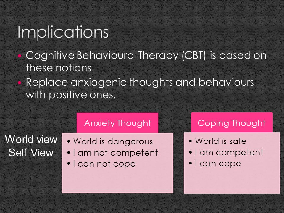 Cognitive Behavioural Therapy (CBT) is based on these notions Replace anxiogenic thoughts and behaviours with positive ones.