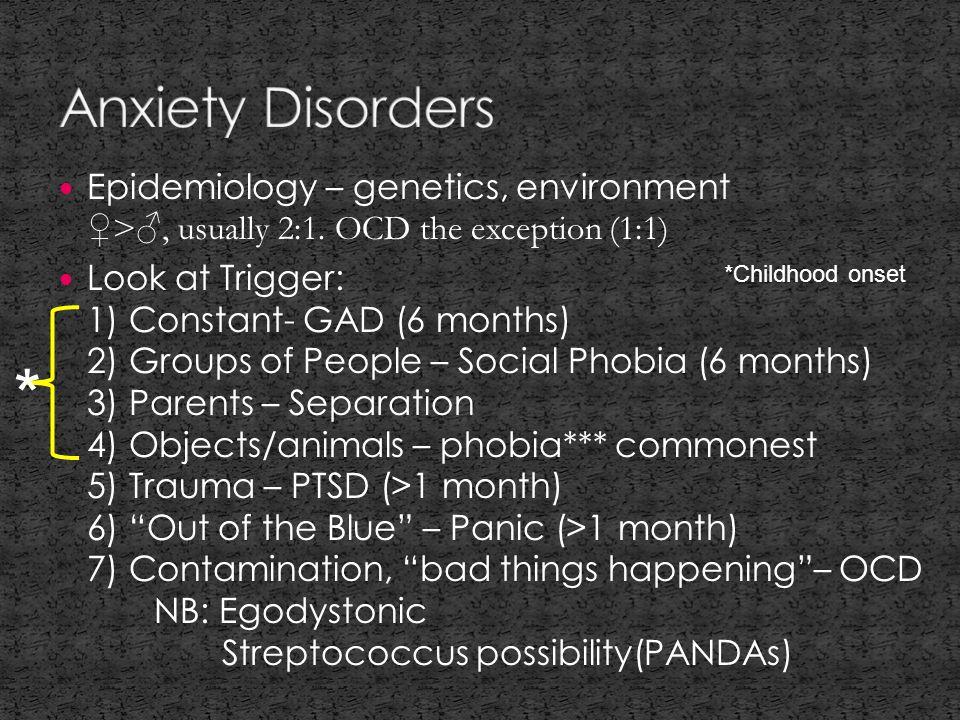 Epidemiology – genetics, environment ♀>♂, usually 2:1.