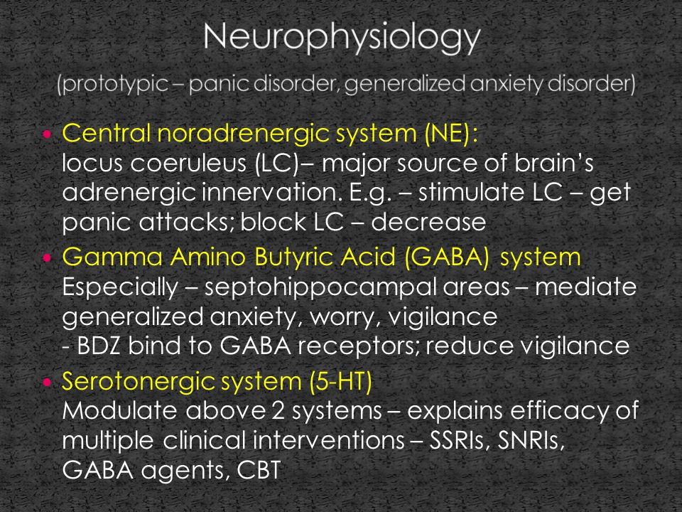 Central noradrenergic system (NE): locus coeruleus (LC)– major source of brain's adrenergic innervation.