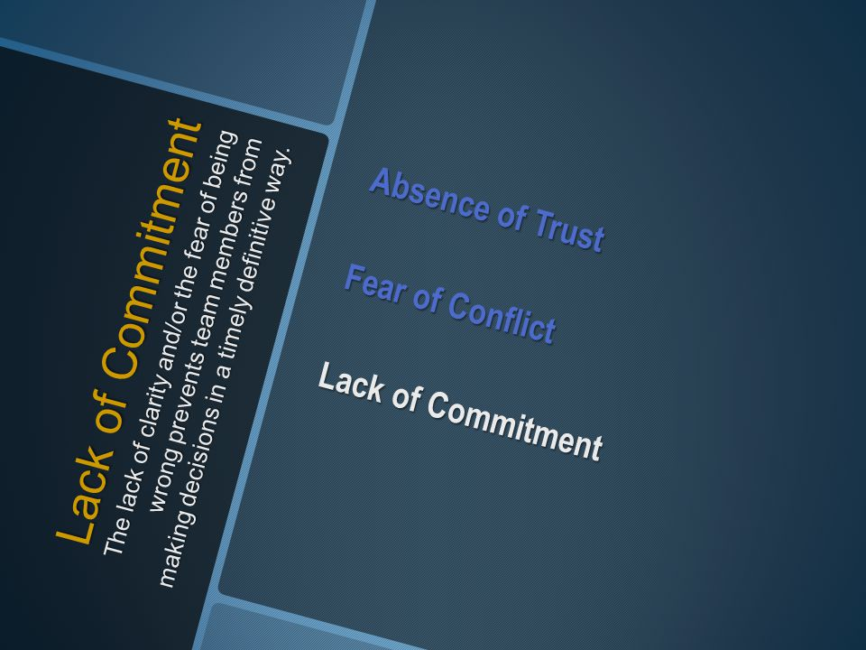 Lack of Commitment The lack of clarity and/or the fear of being wrong prevents team members from making decisions in a timely definitive way. Absence