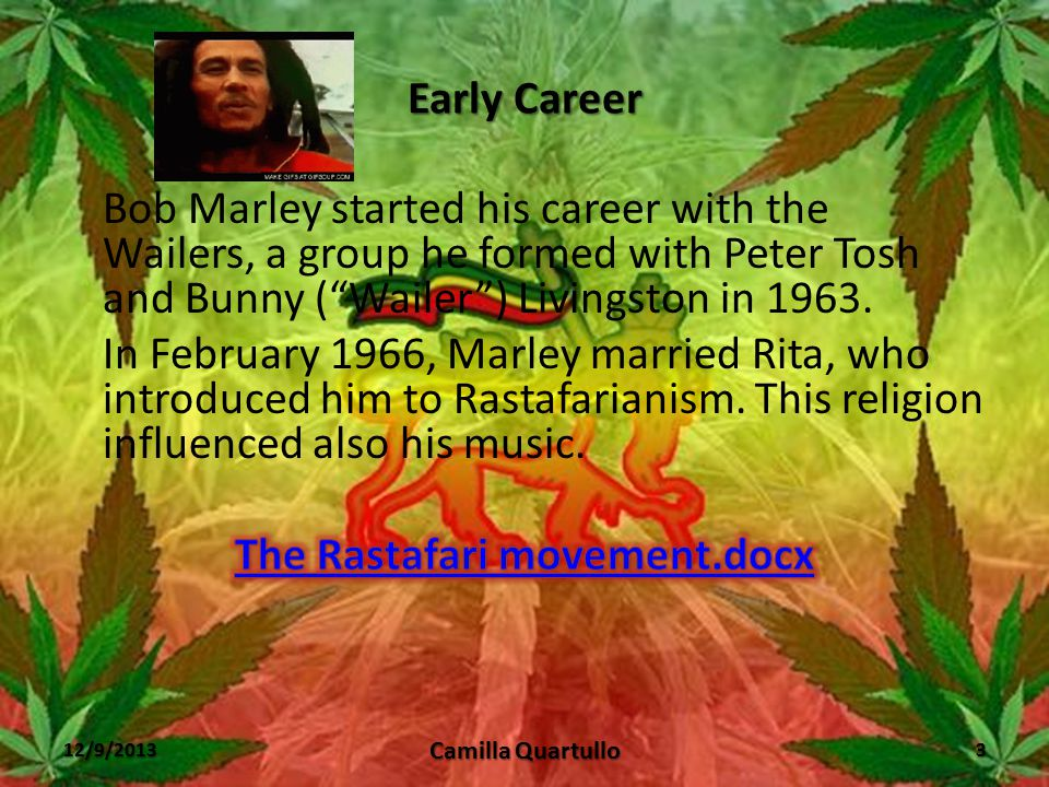 """Early Life Nesta Robert (""""Bob"""") Marley was born on February, 6 th 1945 in the farm of his maternal grandfather in Nine Mile, Jamaica. Marley left Nine"""