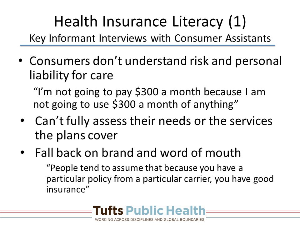 Health Insurance Literacy (1) Key Informant Interviews with Consumer Assistants Consumers don't understand risk and personal liability for care I'm not going to pay $300 a month because I am not going to use $300 a month of anything Can't fully assess their needs or the services the plans cover Fall back on brand and word of mouth People tend to assume that because you have a particular policy from a particular carrier, you have good insurance