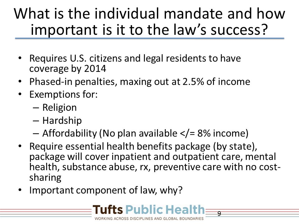 What is the individual mandate and how important is it to the law's success.