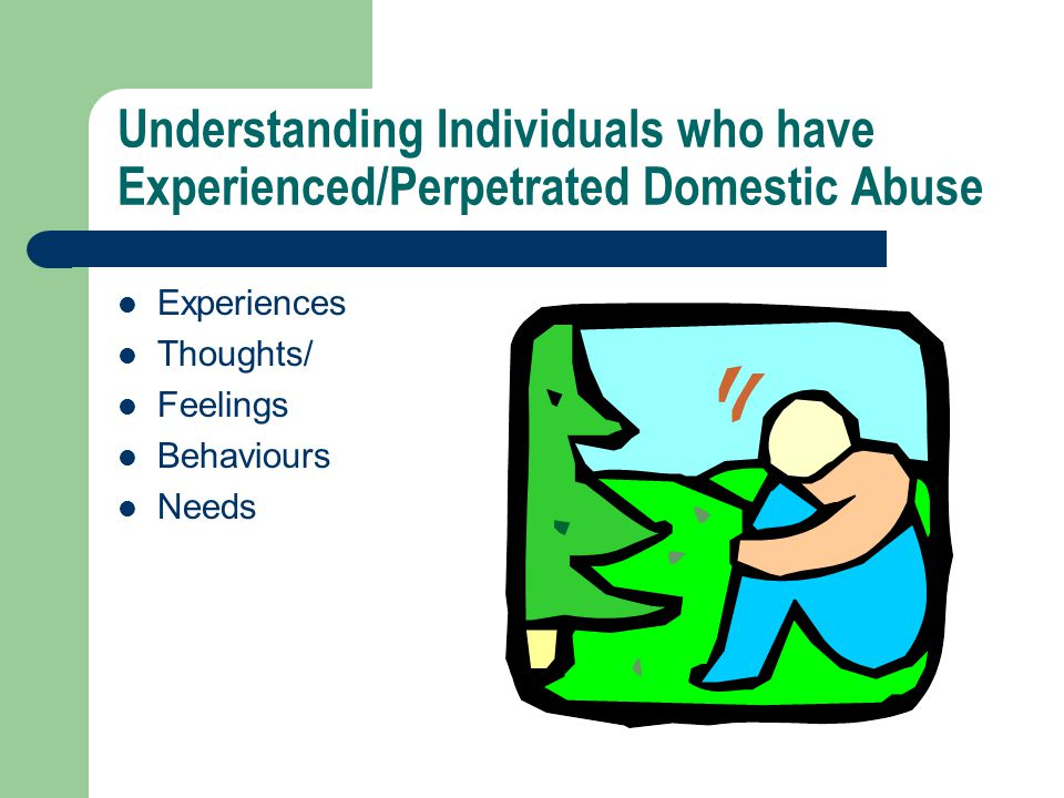 Understanding Individuals who have Experienced/Perpetrated Domestic Abuse Experiences Thoughts/ Feelings Behaviours Needs