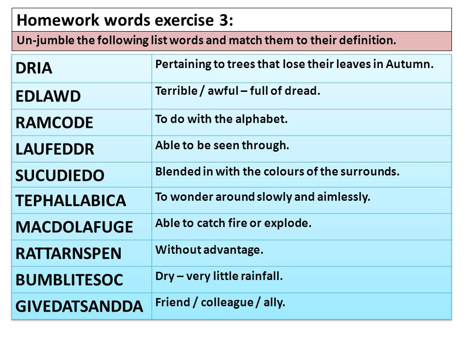 Homework words exercise 3: Un-jumble the following list words and match them to their definition.