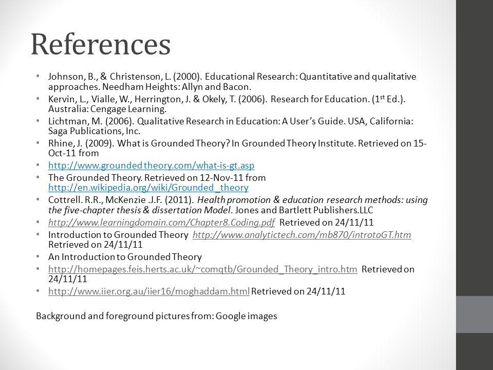 References Johnson, B., & Christenson, L. (2000).