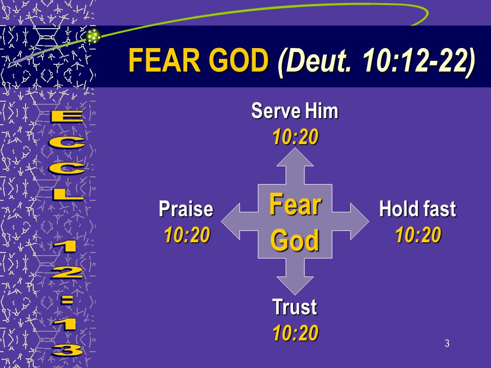 3 FearGod Serve Him 10:20 Hold fast 10:20 Trust 10:20 Praise 10:20