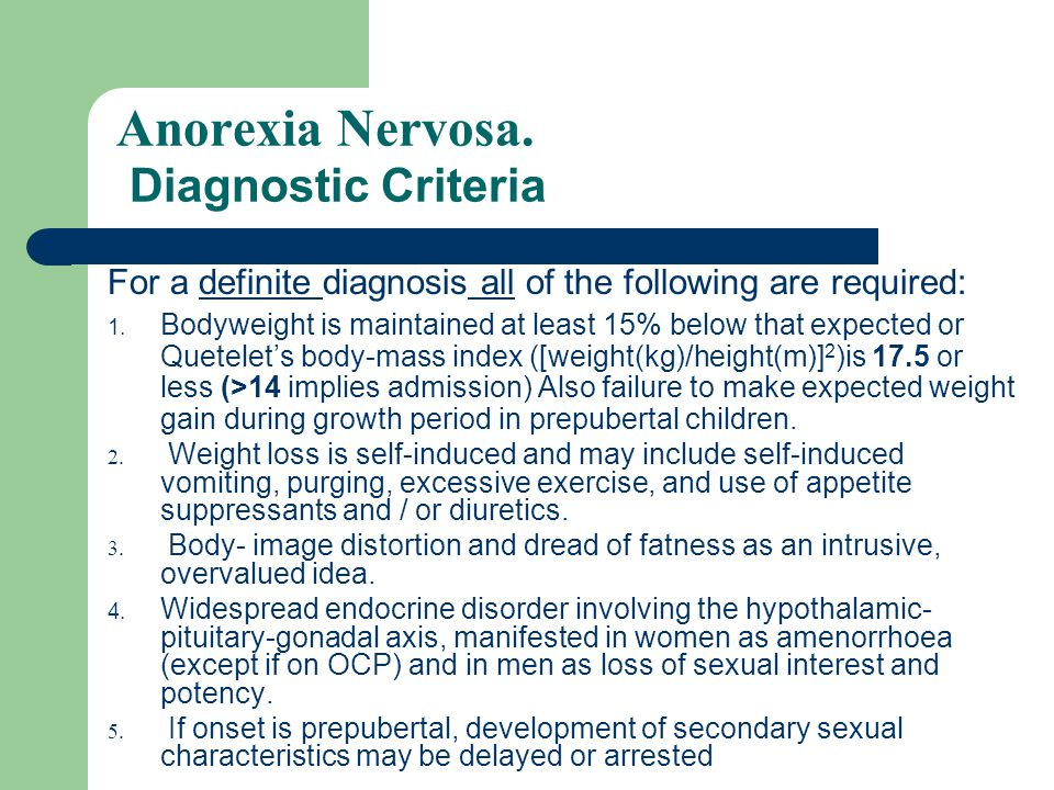 Anorexia Nervosa.