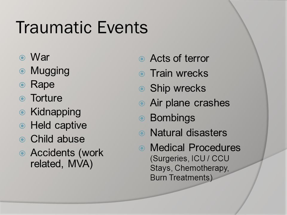 Posttraumatic Stress Disorder  The complex somatic, cognitive, affective and behavioral effects of psychological trauma.  It is characterized by intrusive thoughts, nightmares and flashbacks of past traumatic events, avoidance of reminders, hypervigilance, and sleep disturbance, which lead to social, occupational and interpersonal dysfunction.