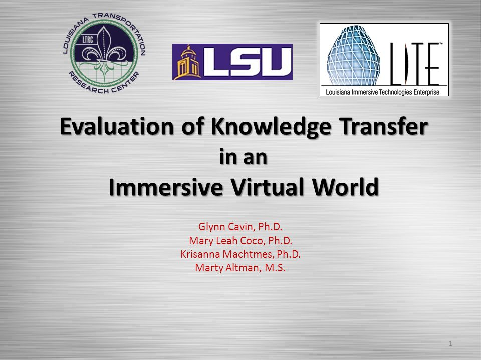 Evaluation of Knowledge Transfer in an Immersive Virtual World Glynn Cavin, Ph.D.