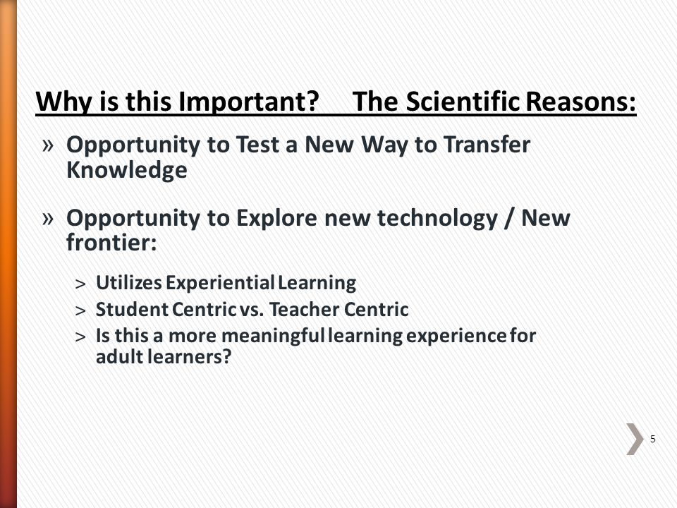 » Asks the question: ˃Does this new learning environment bridge the divide 6 Why is this Important.
