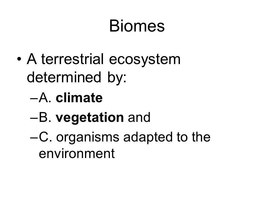 A terrestrial ecosystem determined by: –A. climate –B.